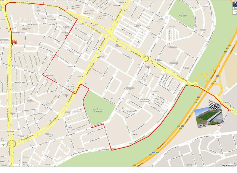 Mapa del recorrido de la Carrera del árbol 2012