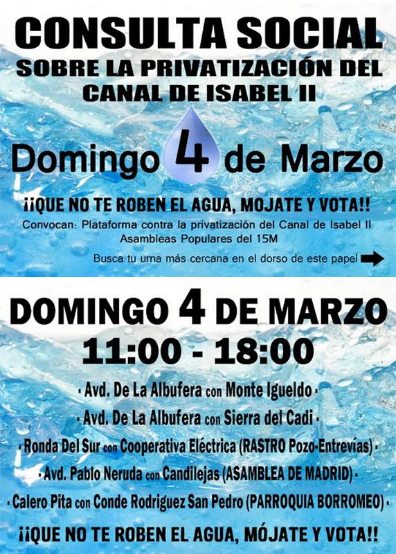 Recortes y ahora Privatización del Canal de Isabel II