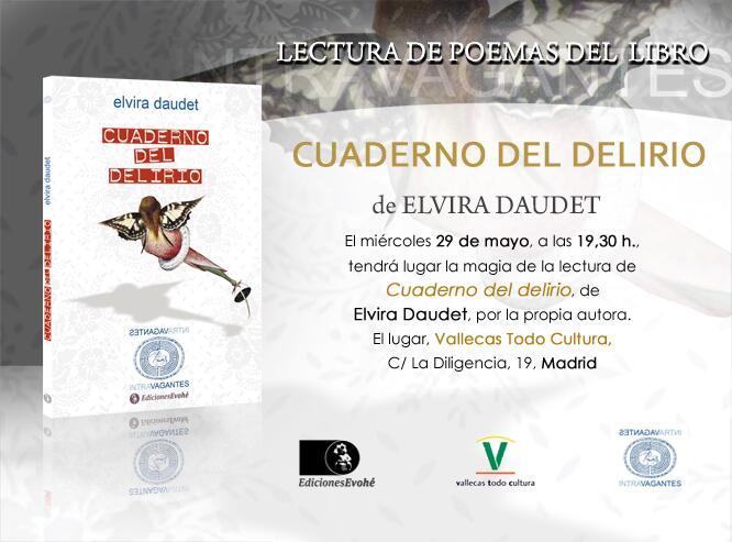 Cartel del evento - Lectura del Cuaderno del Delirio de Elvira Daudet
