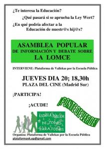 Cartel de la Asamblea para información y debate de la LOMCE - 20 Junio