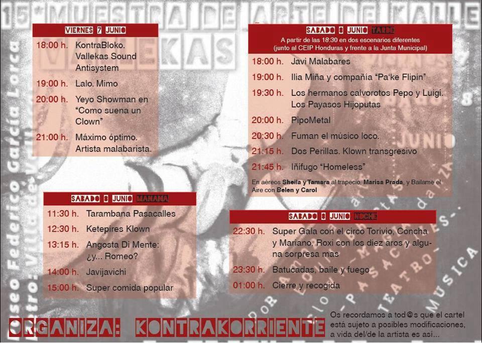 Cartel de las actividades de la XV Muestra de Arte de Kalle del Pueblo de Vallekas