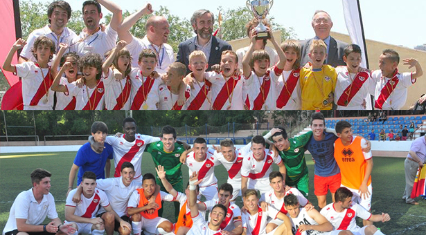 Rayo Vallecano Benjamín A y Juvenil B - Campeones
