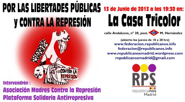 """Cartel de difusión del evento """"Por las libertades públicas y contra la represión"""""""