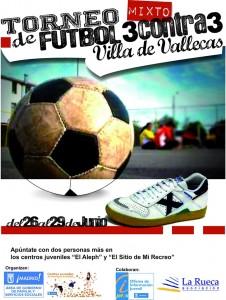 Cartel del Torneo de Fútbol Mixto 3contra3 Villa de Vallecas