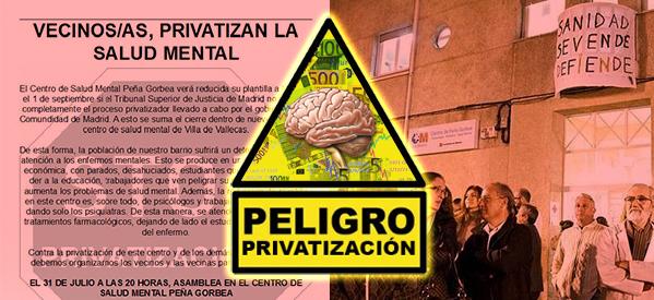 31 Julio - Asamblea por la Sanidad en el C.S.Mental de Puente de Vallecas - Peña Gorbea