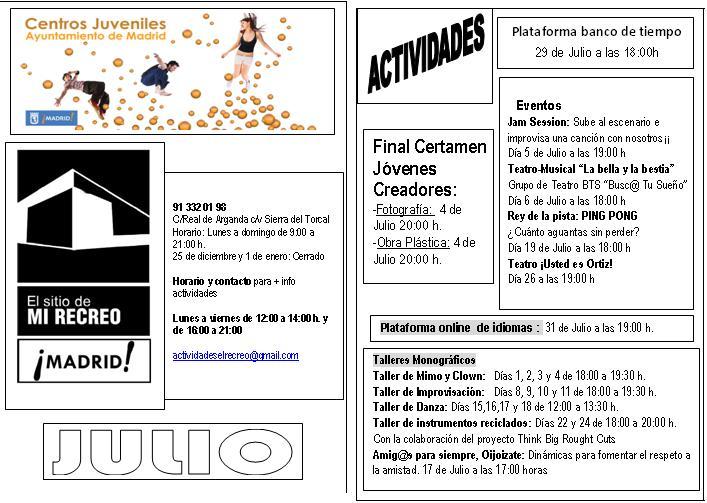 Actividades del Centro Juvenil para Julio de 2013
