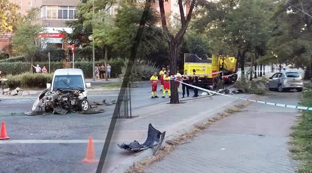Accidente de tráfico en la rotonda de Avenida de la Albufera y Rafael Alberti