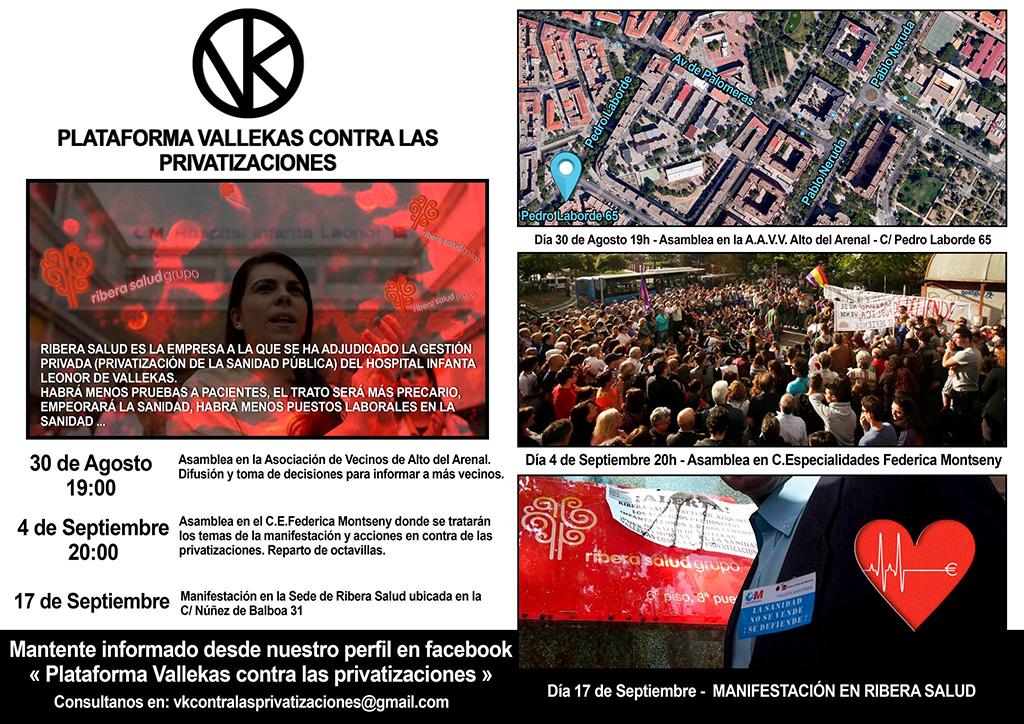 Próximas asambleas y manifestaciones en Vallecas Agosto y Septiembre