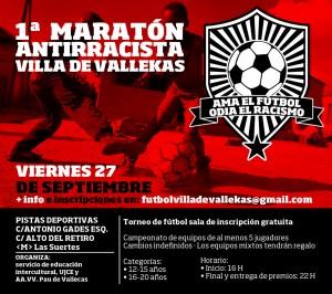 Cartel del I Maratón de Fútbol Antirracista de Villa de Vallekas