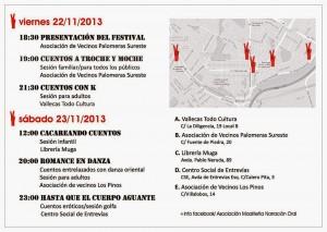 """Agenda de actividades del I Festival de Narración Oral """"Vallecas viene a cuento"""""""