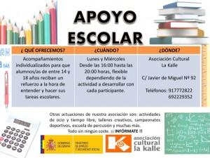 """Cartel informativo de """"Apoyo escolar"""""""