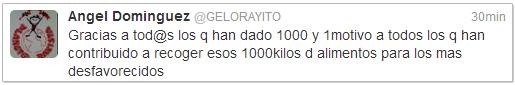 Mensaje en la cuenta de twitter del Presidente de Planeta Rayista y la Federacion de Peñas del Rayo