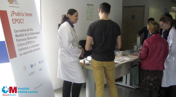 El Hospital Infanta Leonor se sumó al Día de la EPOC con actividades divulgativas y preventivas