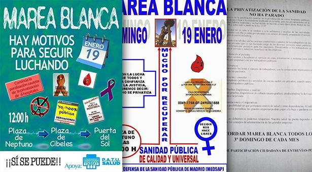 Continúa la lucha por la Sanidad Pública de Vallecas y Madrid - 19 Enero Marea Blanca