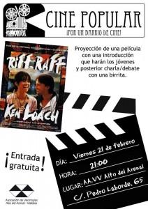 Cartel de la sesión de Cine Popular A.A.V.V. Alto del Arenal