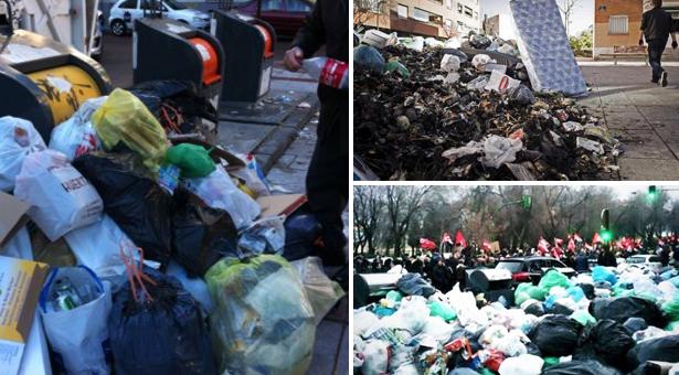 Basura acumulada, contenedores quemados y manifestación en Alcorcón