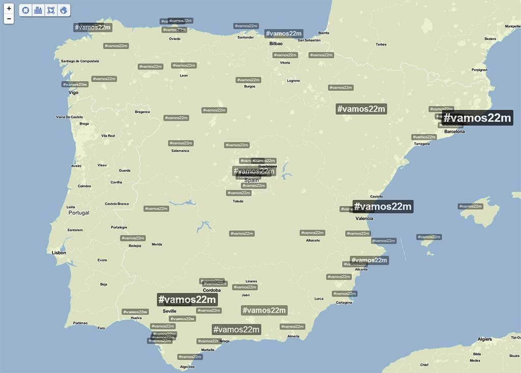 Plano de Treanding Topic con el hashtag #Vamos22m