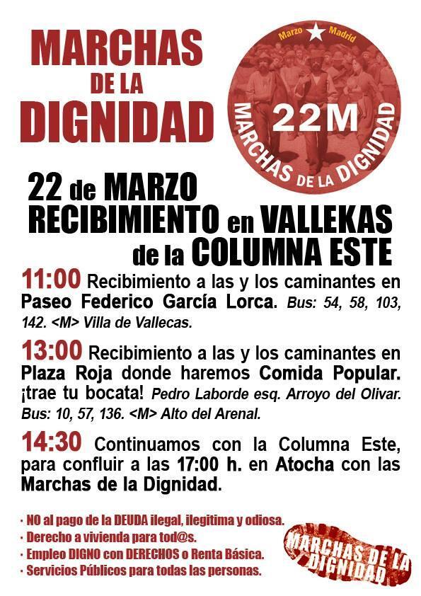 Los vallecanos acudirán el 22-M a las Marchas de la dignidad