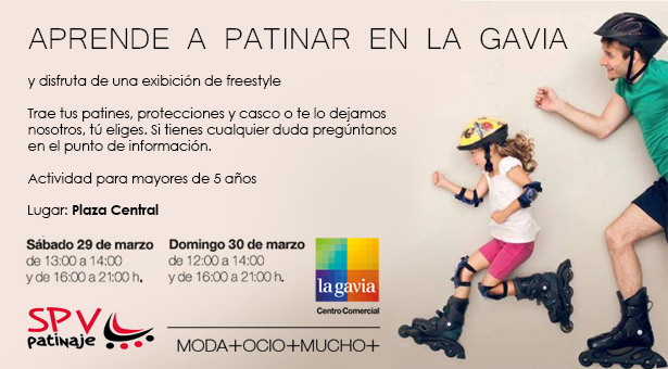Aprende a patinar en el C.C. La gavia - Clases, actividades y juegos con SPV Patinaje