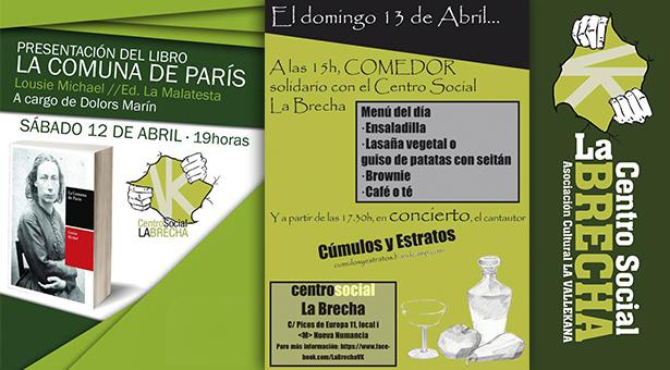 12 y 13 de Abril - Actividades este fin de semana en el CS La Brecha
