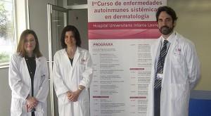 De izquierda a derecha, la gerente del Hospital, Carmen Pantoja, junto a Eva Chavarría (dermatóloga) y el jefe de Dermatología, Pablo de la Cueva.