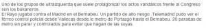Captura del texto que describe el vídeo en la web de Telemadrid