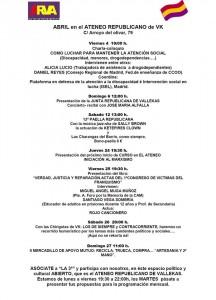 Programación del Ateneo Republicano de Vallecas para Abril 2014