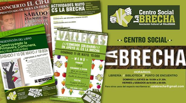 10 y 11 de Mayo - Actividades este fin de semana en el CS La Brecha y próximos eventos de Mayo