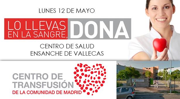 Colecta para donar sangre en el Centro de Salud Ensanche de Vallecas