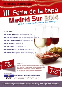 Cartel de la III Fiesta de la Tapa Madrid Sur 2014