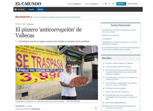 """Noticia/entrevista que el periódico """"El Mundo"""" ha publicado este sábado con el título de """"El pizzero 'anticorrupción' de Vallecas"""""""