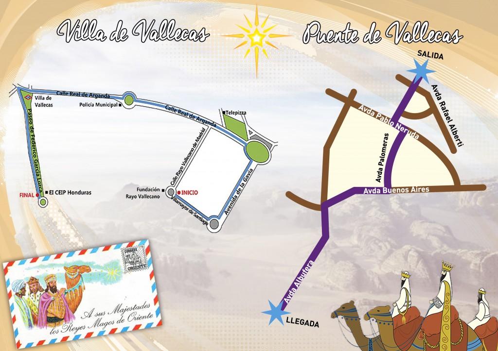 Recorridos de las Cabalgatas de Reyes Magos en Vallecas 2015