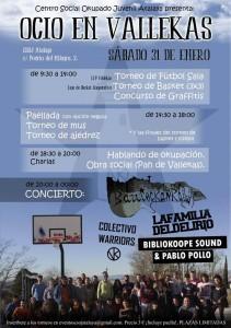 """Cartel de """"Ocio en Vallekas"""" del CSOJ Atalaya"""