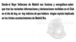 Mensaje oficial del Rayo Vallecano