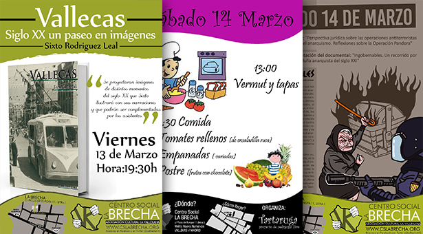 13 al 15 de Marzo – Actividades este fin de semana en el CS La Brecha