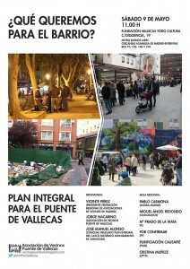 Cartel Plan Integral Puente Vallecas - 9 mayo 2015