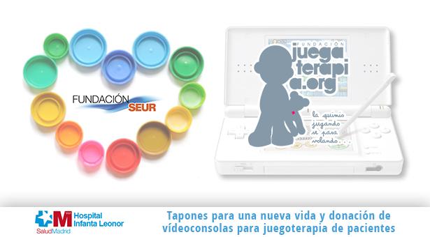 Tapones para una nueva vida y donación de videoconsolas para juegoterapia en el Hospital Infanta Leonor