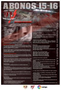 Tarifas de los abonos para la temporada 15-16