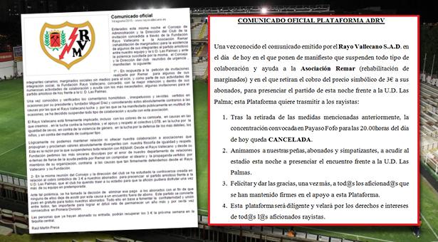 Rectificación del club para el amistoso entre el Rayo Vallecano y la UD Las Palmas