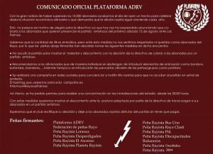 Comunicado de la Plataforma ADRV