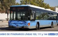 Desvíos de ruta en las líneas 103, 111 y 144 de la EMT por obras en la calle Imagen