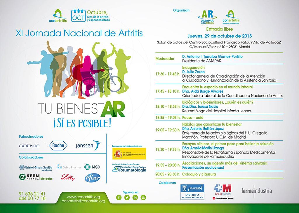 Agenda de la XI Jornada Nacional de Artritis en Villa de Vallecas