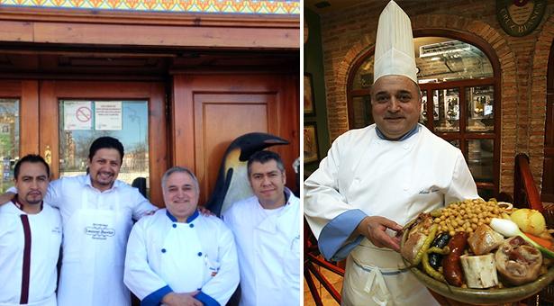 Antonio Cosmen con varios Chefs internacionales en la puerta de su restaurante