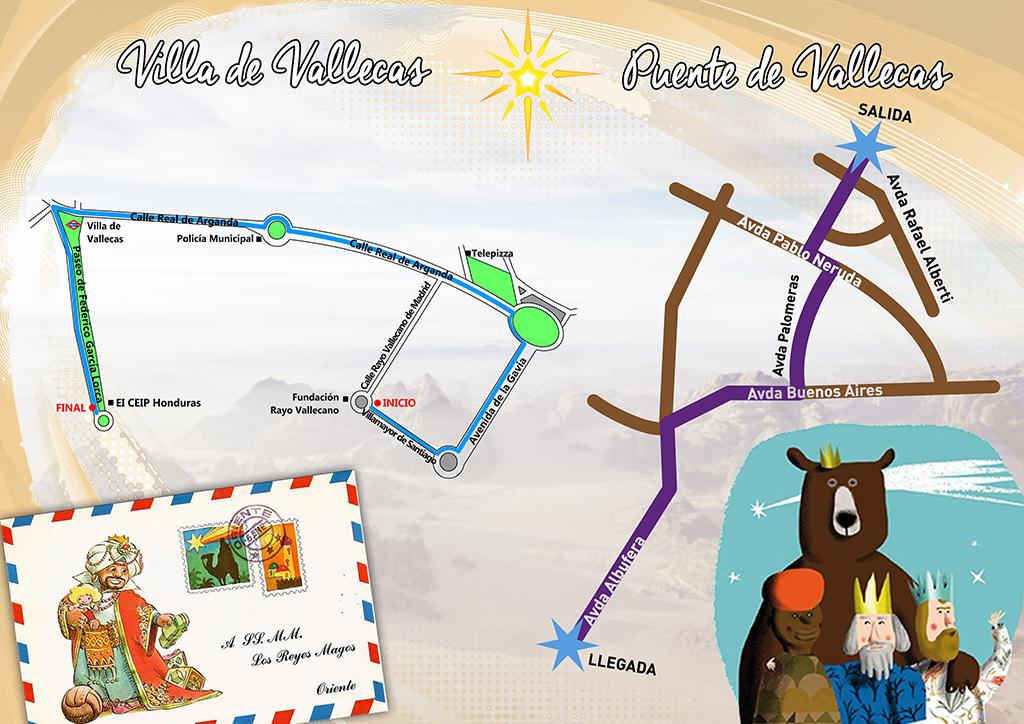 Recorridos de las Cabalgatas de Reyes Magos en Vallecas 2016