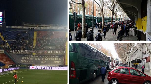 Imágenes del desplazamiento de la afición a Valencia