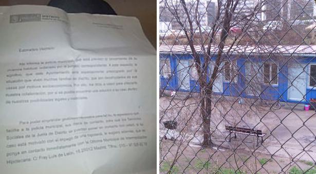 Carta recibida por Halima y casa prefabricada ofrecida en Fuencarral