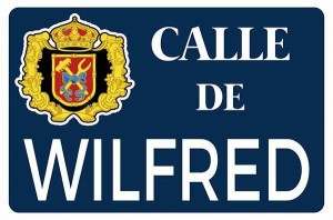 Representación de la placa en honor a Wilfred
