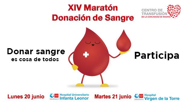 XIV Maratón de donación de sangre en los hospitales de Vallecas – 20 y 21 de Junio