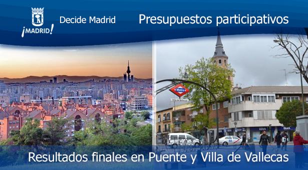 Resultados finales de las Propuestas de los Presupuestos participativos en Puente y Villa de Vallecas