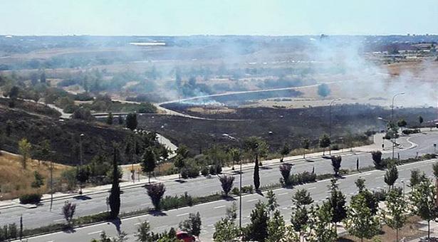 Incendio en el Parque de la Gavía del Ensanche de Vallecas